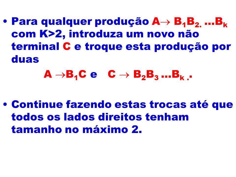 Para qualquer produção A B 1 B 2. …B k com K>2, introduza um novo não terminal C e troque esta produção por duas A B 1 C e C B 2 B 3 …B k.. Continue f