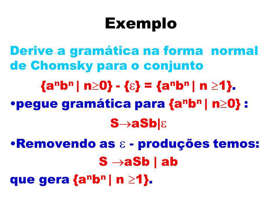 Exemplo Derive a gramática na forma normal de Chomsky para o conjunto {a n b n | n 0} - { } = {a n b n | n 1}. pegue gramática para {a n b n | n 0} :