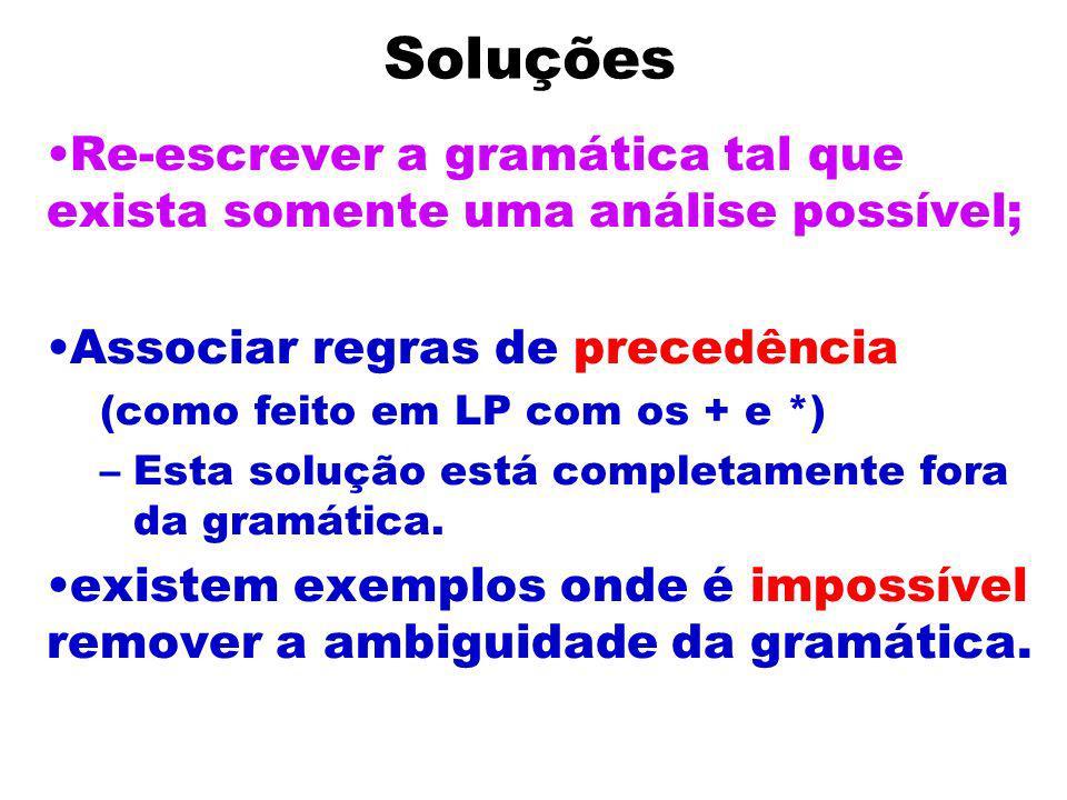Abigüidade Inerente não-ambígua: existe uma gramática para L que é não-ambígua; inerentemente ambígua.se toda gramática para L é ambígua.