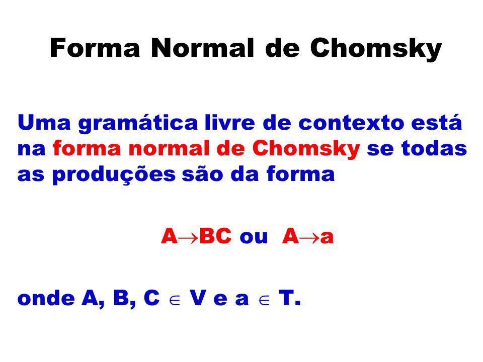 Forma Normal de Chomsky Uma gramática livre de contexto está na forma normal de Chomsky se todas as produções são da forma A BC ou A a onde A, B, C V