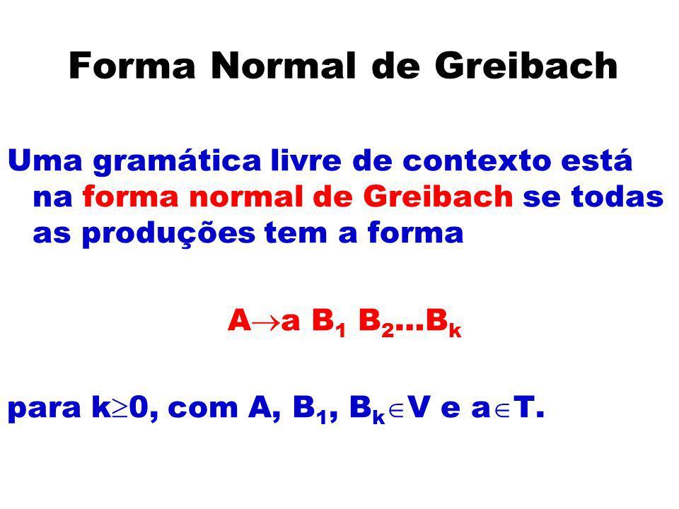 Forma Normal de Greibach Uma gramática livre de contexto está na forma normal de Greibach se todas as produções tem a forma A a B 1 B 2 …B k para k 0,
