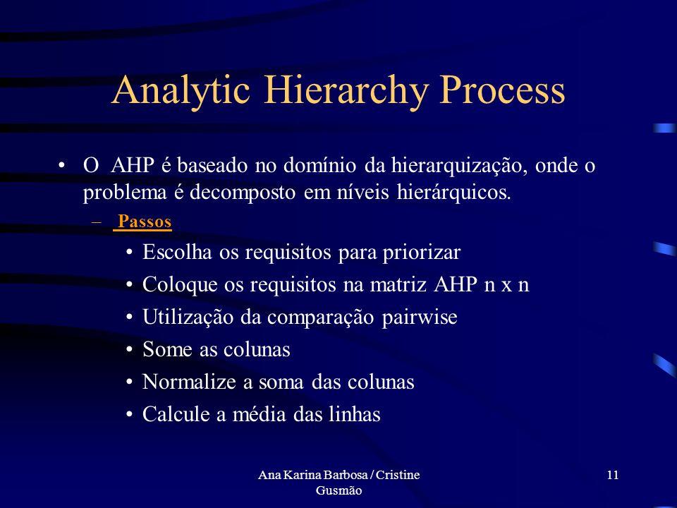 Ana Karina Barbosa / Cristine Gusmão 10 Analytic Hierarchy Process Desenvolvido por T. L. Saaty - 1980 Pontos Fortes Conceitualmente simples e de fáci