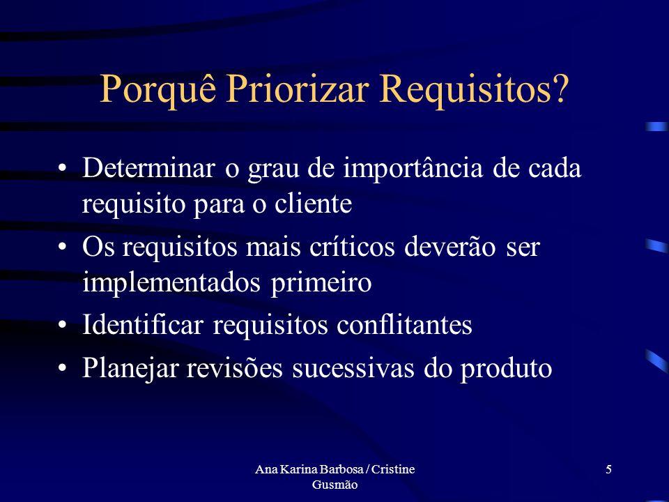 Ana Karina Barbosa / Cristine Gusmão 4 Porquê Priorizar Requisitos? Seleção informal de processos Não utilização de técnicas Não conhecimento da impor