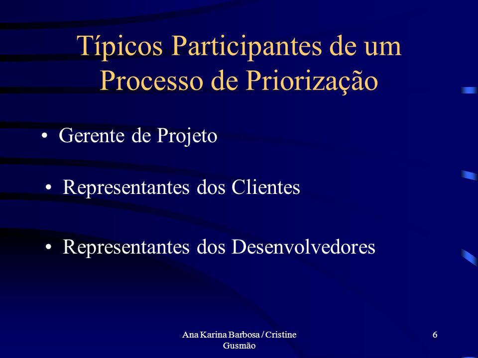 Ana Karina Barbosa / Cristine Gusmão 6 Típicos Participantes de um Processo de Priorização Gerente de Projeto Representantes dos Clientes Representantes dos Desenvolvedores