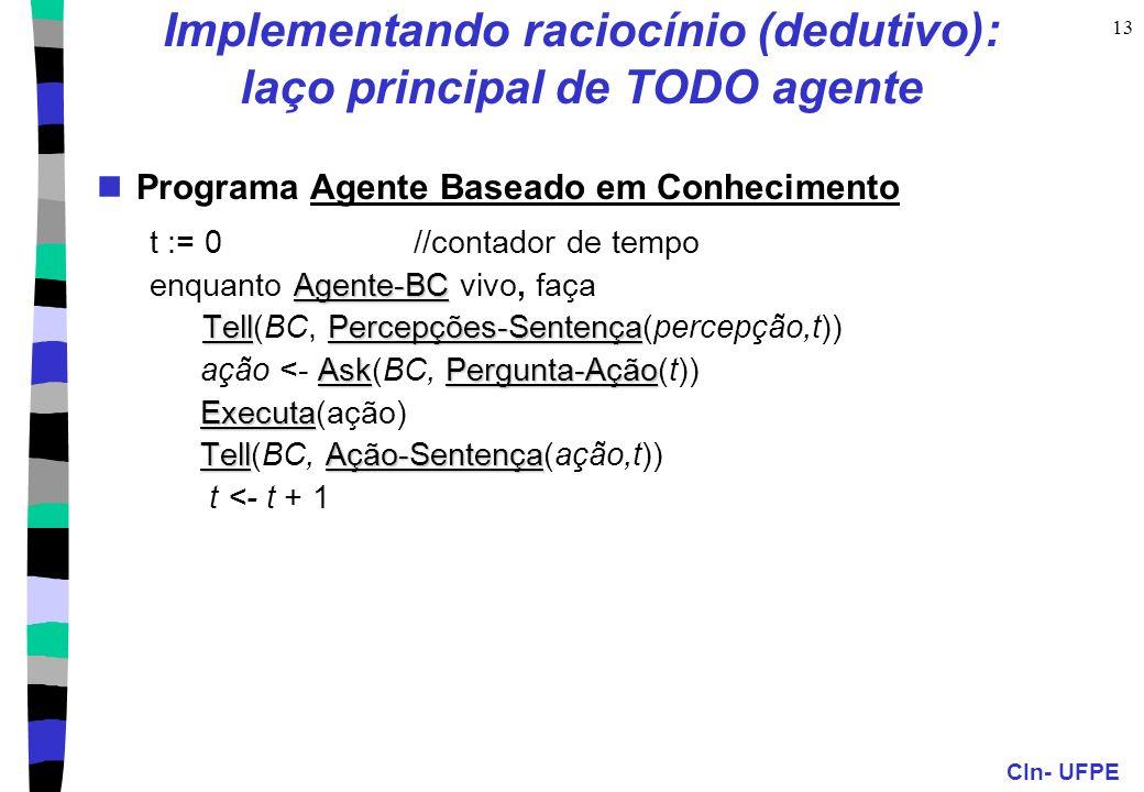 CIn- UFPE 13 Implementando raciocínio (dedutivo): laço principal de TODO agente Programa Agente Baseado em Conhecimento t := 0 //contador de tempo Age