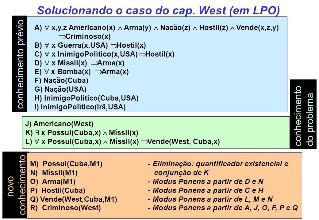 Solucionando o caso do cap. West (em LPO) A) x,y,z Americano(x) Arma(y) Nação(z) Hostil(z) Vende(x,z,y) Criminoso(x) B) x Guerra(x,USA) Hostil(x) C) x