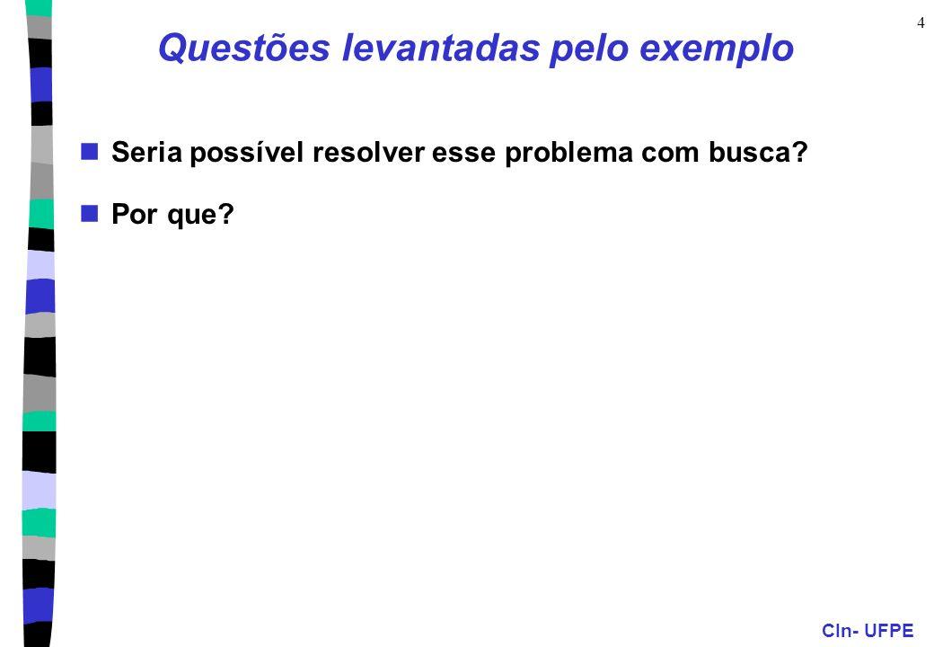 CIn- UFPE 4 Questões levantadas pelo exemplo Seria possível resolver esse problema com busca? Por que?