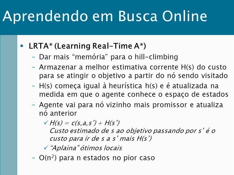 Aprendendo em Busca Online LRTA* (Learning Real-Time A*) –Dar mais memória para o hill-climbing –Armazenar a melhor estimativa corrente H(s) do custo para se atingir o objetivo a partir do nó sendo visitado –H(s) começa igual à heurística h(s) e é atualizada na medida em que o agente conhece o espaço de estados –Agente vai para nó vizinho mais promissor e atualiza nó anterior H(s) = c(s,a,s) + H(s) Custo estimado de s ao objetivo passando por s é o custo para ir de s a s mais H(s) Aplaina ótimos locais –O(n 2 ) para n estados no pior caso