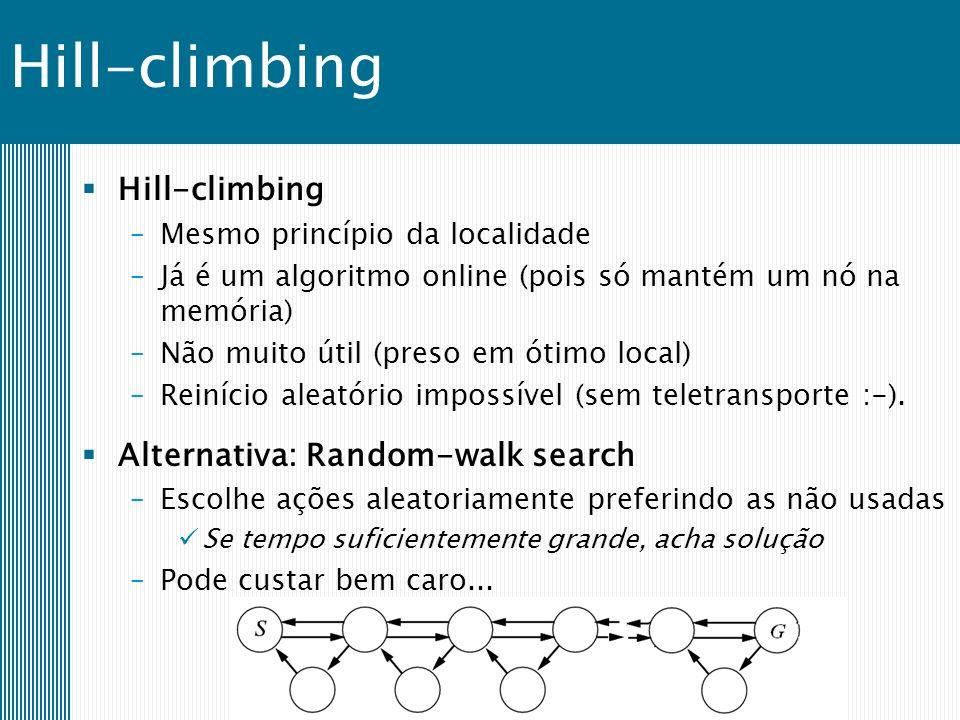 Hill-climbing –Mesmo princípio da localidade –Já é um algoritmo online (pois só mantém um nó na memória) –Não muito útil (preso em ótimo local) –Reinício aleatório impossível (sem teletransporte :-).