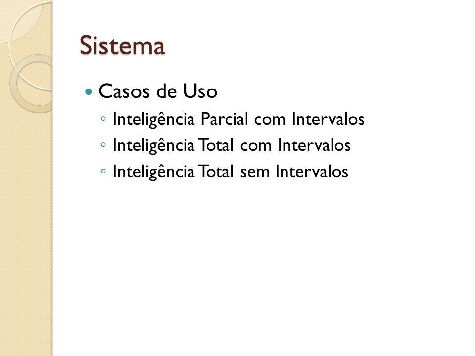 Sistema Casos de Uso Inteligência Parcial com Intervalos Inteligência Total com Intervalos Inteligência Total sem Intervalos