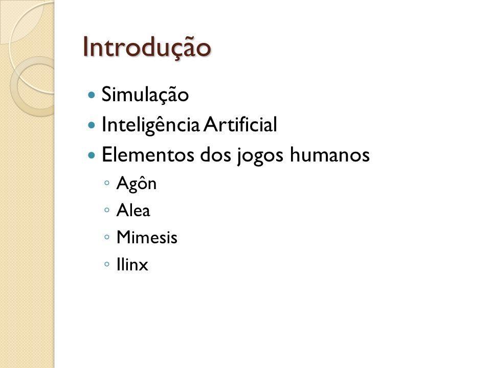 Introdução Simulação Inteligência Artificial Elementos dos jogos humanos Agôn Alea Mimesis Ilinx