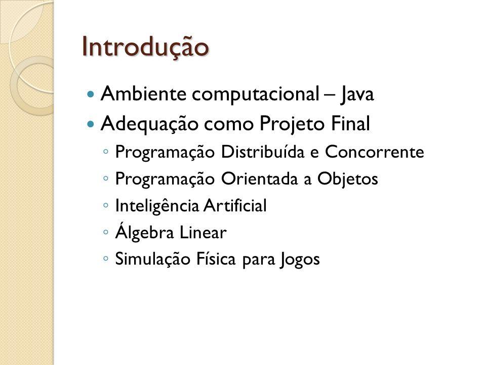 Introdução Ambiente computacional – Java Adequação como Projeto Final Programação Distribuída e Concorrente Programação Orientada a Objetos Inteligênc