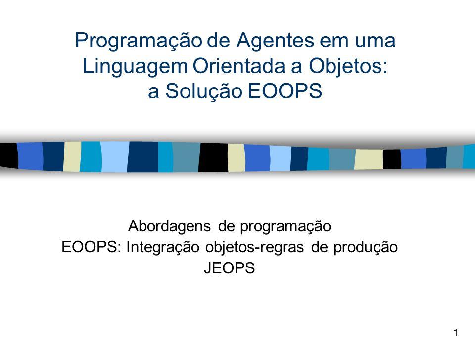 1 Programação de Agentes em uma Linguagem Orientada a Objetos: a Solução EOOPS Abordagens de programação EOOPS: Integração objetos-regras de produção