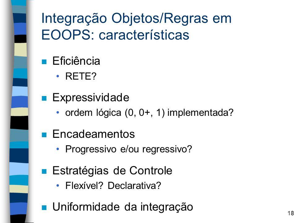 18 Integração Objetos/Regras em EOOPS: características n Eficiência RETE? n Expressividade ordem lógica (0, 0+, 1) implementada? n Encadeamentos Progr
