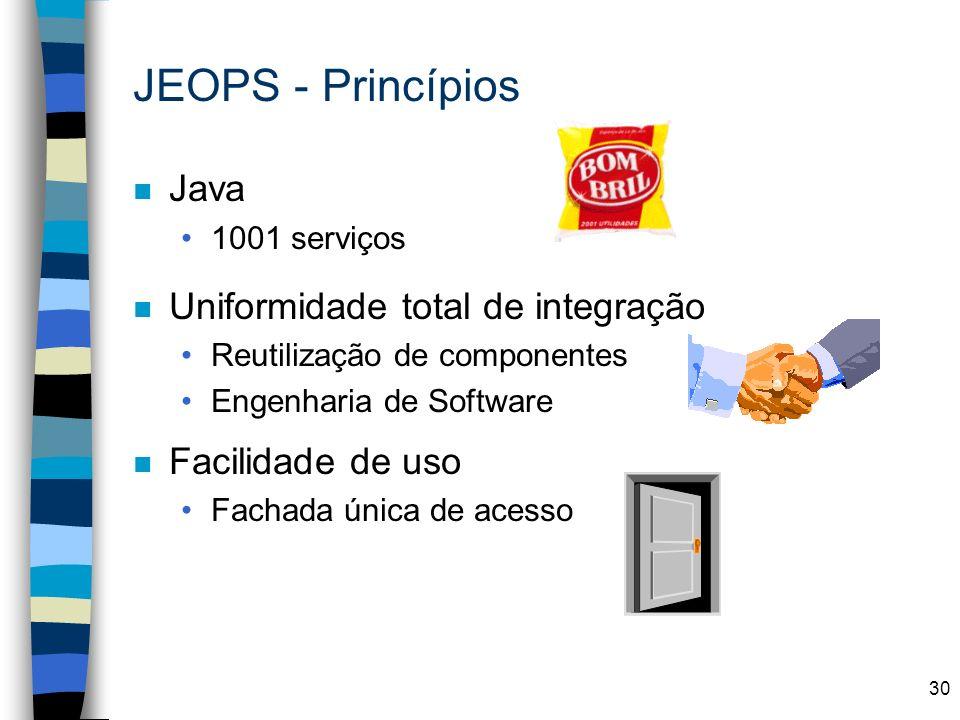 30 JEOPS - Princípios n Java 1001 serviços n Uniformidade total de integração Reutilização de componentes Engenharia de Software n Facilidade de uso F