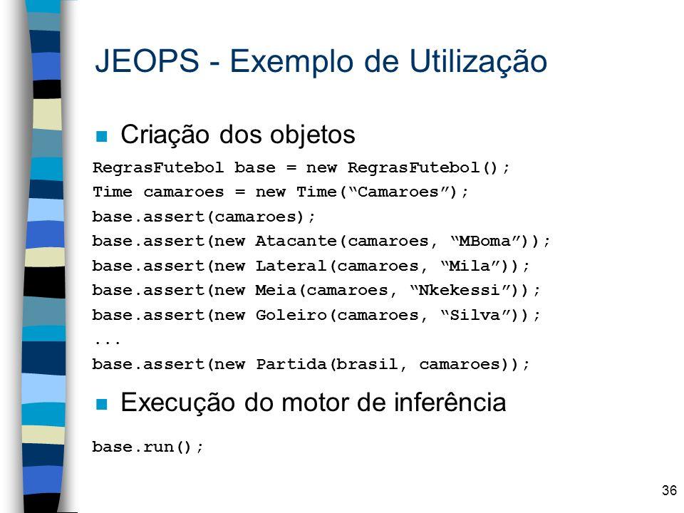 36 n Criação dos objetos n Execução do motor de inferência JEOPS - Exemplo de Utilização RegrasFutebol base = new RegrasFutebol(); Time camaroes = new