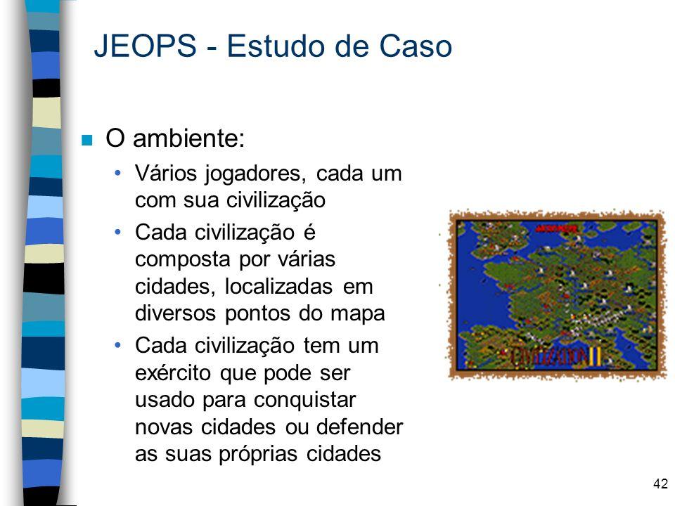 42 JEOPS - Estudo de Caso n O ambiente: Vários jogadores, cada um com sua civilização Cada civilização é composta por várias cidades, localizadas em d