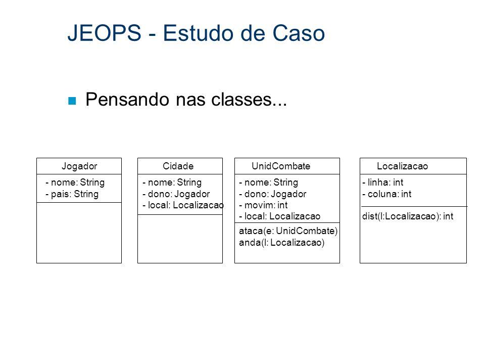 JEOPS - Estudo de Caso n Pensando nas classes... Jogador - nome: String - pais: String Cidade - nome: String - dono: Jogador - local: Localizacao Unid