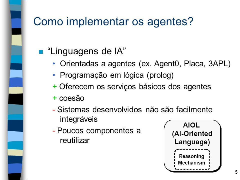 5 Como implementar os agentes? n Linguagens de IA Orientadas a agentes (ex. Agent0, Placa, 3APL) Programação em lógica (prolog) + Oferecem os serviços