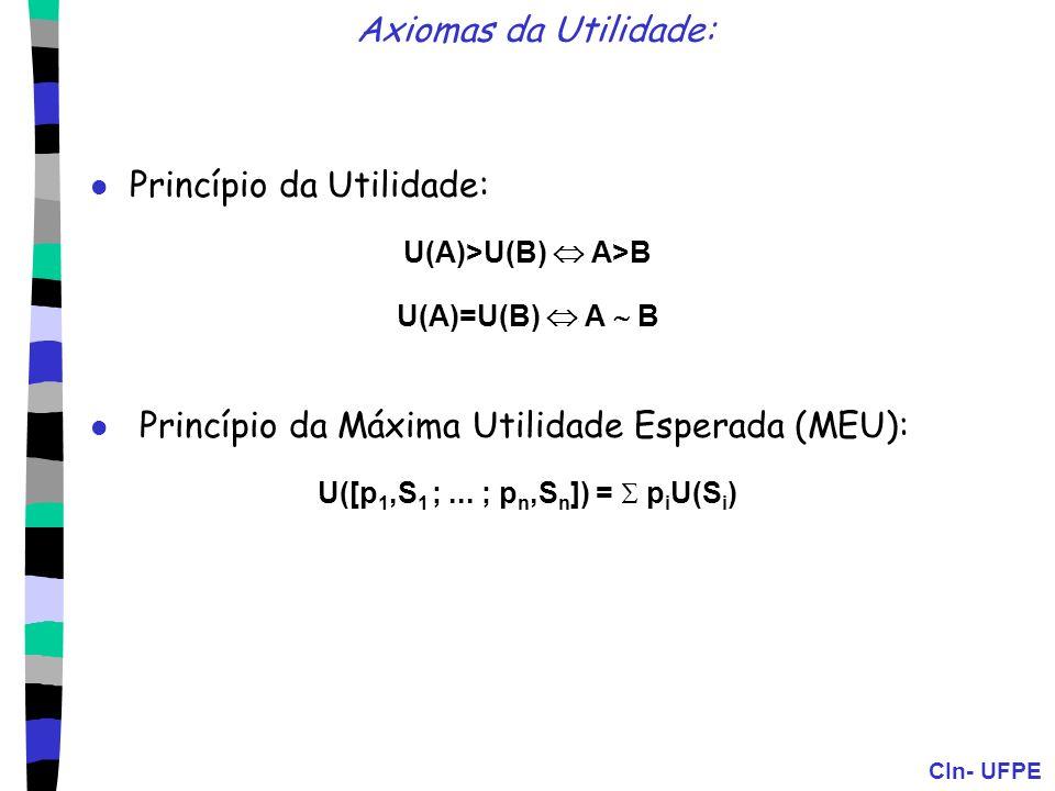 CIn- UFPE Axiomas da Utilidade: Princípio da Utilidade: U(A)>U(B) A>B U(A)=U(B) A B Princípio da Máxima Utilidade Esperada (MEU): U([p 1,S 1 ;... ; p