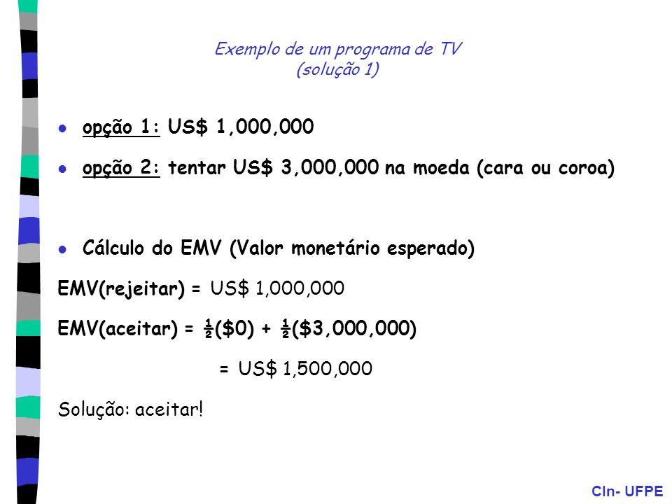 CIn- UFPE Exemplo de um programa de TV (solução 1) opção 1: US$ 1,000,000 opção 2: tentar US$ 3,000,000 na moeda (cara ou coroa) Cálculo do EMV (Valor