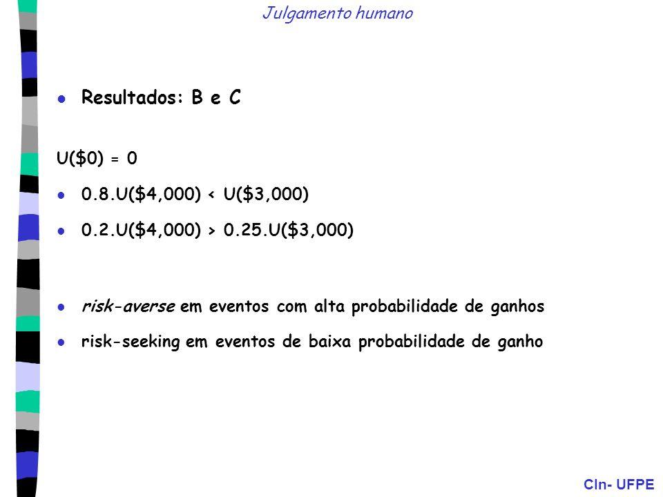 CIn- UFPE Julgamento humano Resultados: B e C U($0) = 0 0.8.U($4,000) < U($3,000) 0.2.U($4,000) > 0.25.U($3,000) risk-averse em eventos com alta proba