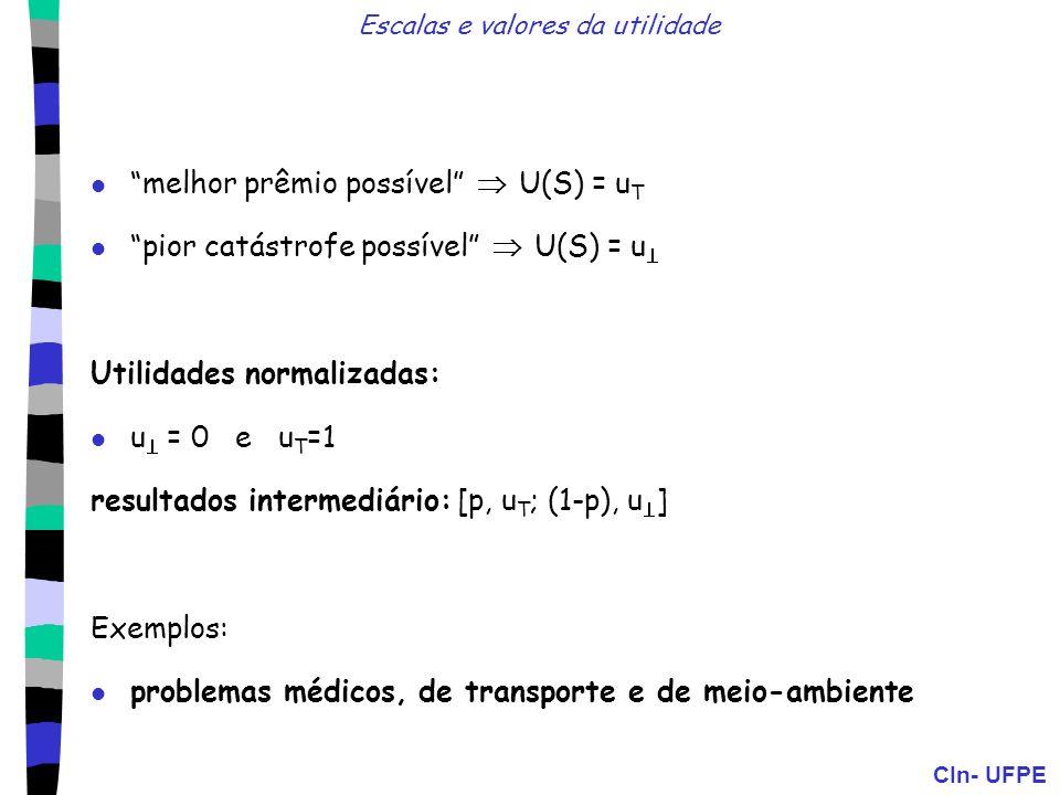 CIn- UFPE Escalas e valores da utilidade melhor prêmio possível U(S) = u T pior catástrofe possível U(S) = u Utilidades normalizadas: u = 0 e u T =1 r