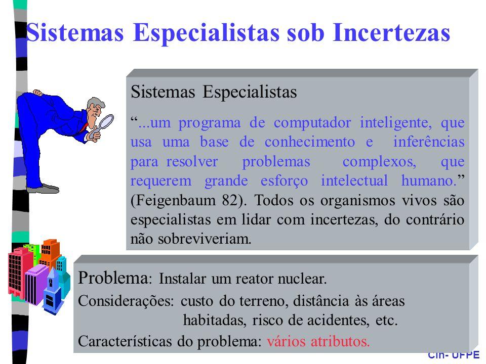 CIn- UFPE Sistemas Especialistas...um programa de computador inteligente, que usa uma base de conhecimento e inferências para resolver problemas compl
