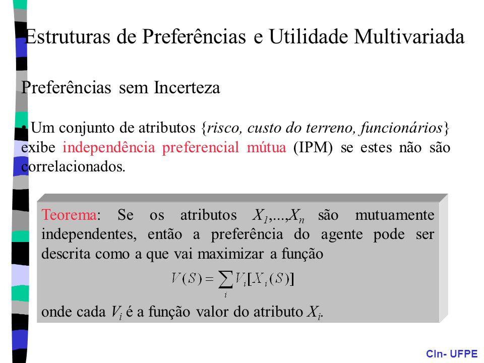 CIn- UFPE Preferências sem Incerteza Um conjunto de atributos {risco, custo do terreno, funcionários} exibe independência preferencial mútua (IPM) se