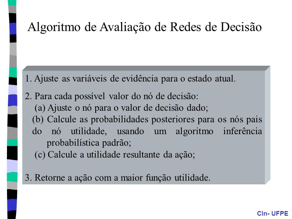 CIn- UFPE Algoritmo de Avaliação de Redes de Decisão 1. Ajuste as variáveis de evidência para o estado atual. 2. Para cada possível valor do nó de dec