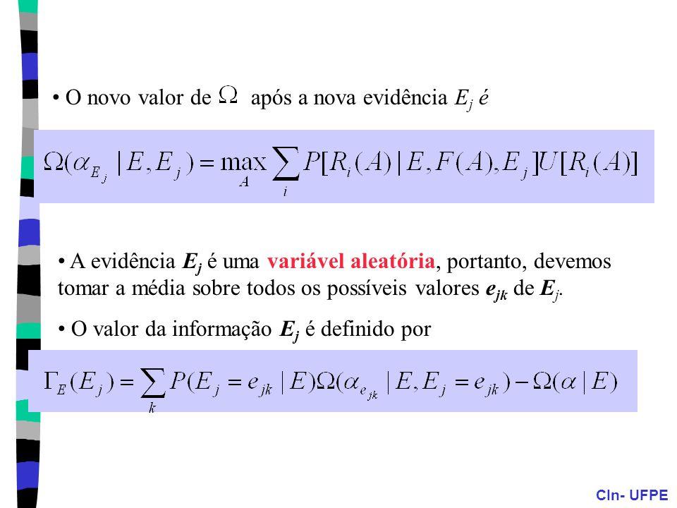 CIn- UFPE O novo valor de após a nova evidência E j é A evidência E j é uma variável aleatória, portanto, devemos tomar a média sobre todos os possíve
