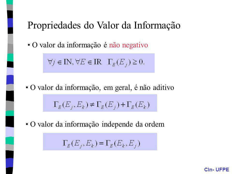 CIn- UFPE Propriedades do Valor da Informação O valor da informação é não negativo O valor da informação, em geral, é não aditivo O valor da informaçã