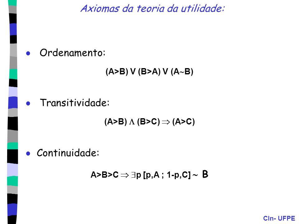 CIn- UFPE Axiomas da teoria da utilidade: Substituição: A B [p,A ; 1-p,C] [p,B ; 1-p,C] Monotonicidade: A>B (p q [p,A; 1-p,B] [q,A; 1-q,B] Decomposição: [p,A; 1-p,[q,B; 1-q,C]] [p,A;(1-p)q,B; (1-p)(1-q),C]