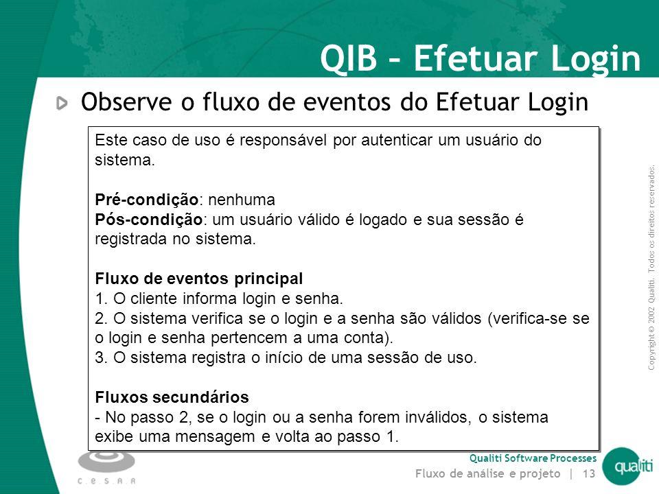 Copyright © 2002 Qualiti. Todos os direitos reservados. Qualiti Software Processes Fluxo de análise e projeto | 12 Classes de Entidade (entity classes
