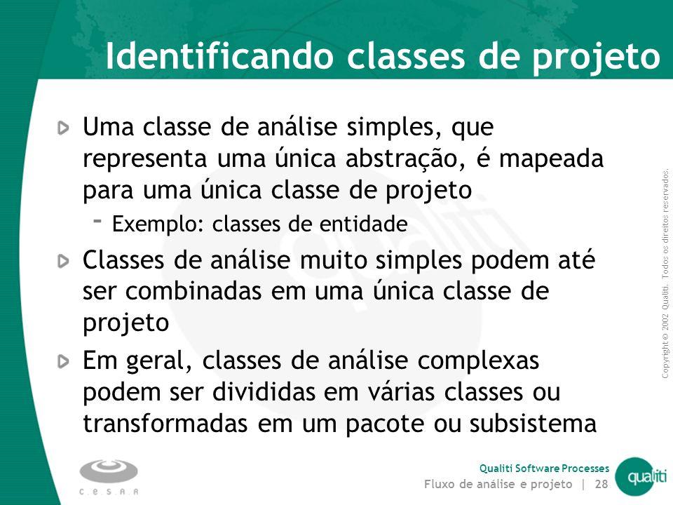 Copyright © 2002 Qualiti. Todos os direitos reservados. Qualiti Software Processes Fluxo de análise e projeto | 27 Passo 1: Mapear classes de análise
