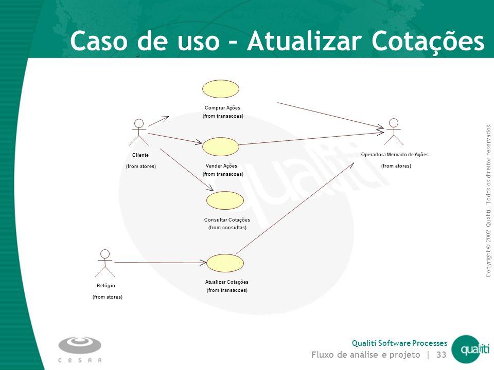 Copyright © 2002 Qualiti. Todos os direitos reservados. Qualiti Software Processes Fluxo de análise e projeto | 32 Cápsulas e Concorrência Concorrênci