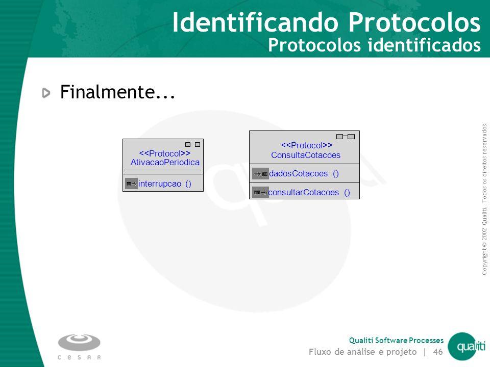 Copyright © 2002 Qualiti. Todos os direitos reservados. Qualiti Software Processes Fluxo de análise e projeto | 45 Identificando Protocolos Identifica