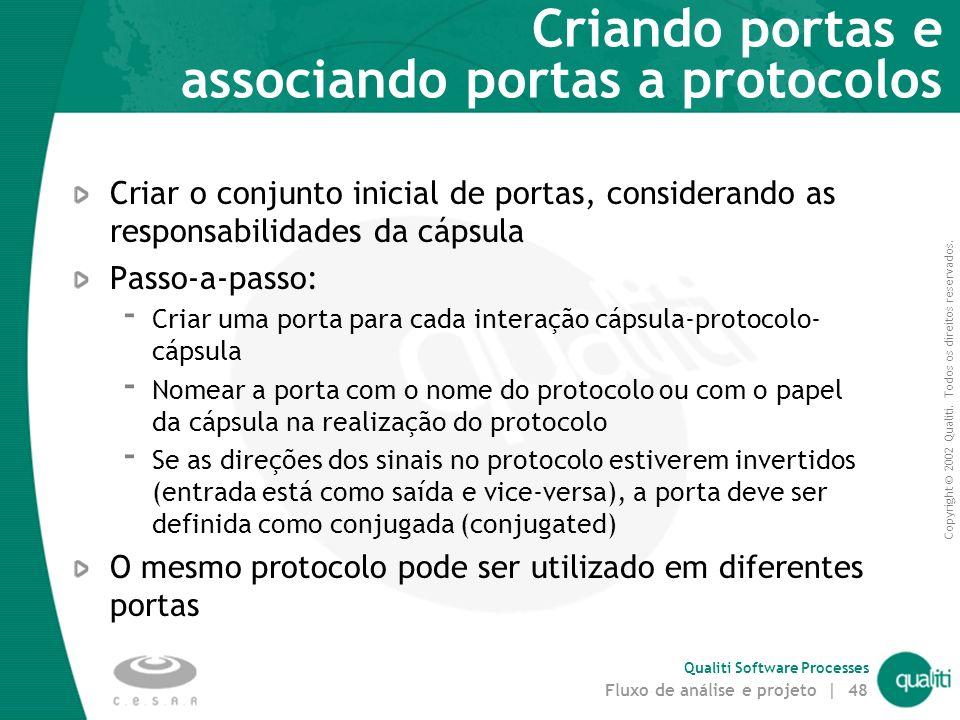 Copyright © 2002 Qualiti. Todos os direitos reservados. Qualiti Software Processes Fluxo de análise e projeto | 47 Identificando Protocolos Associar p