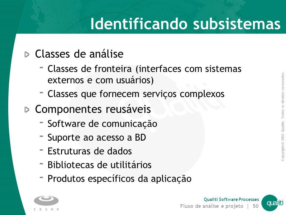 Copyright © 2002 Qualiti. Todos os direitos reservados. Qualiti Software Processes Fluxo de análise e projeto | 49 Exemplo