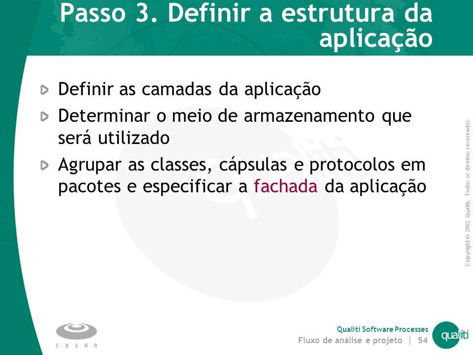 Copyright © 2002 Qualiti. Todos os direitos reservados. Qualiti Software Processes Fluxo de análise e projeto | 53 Passo 2. Identificar oportunidades
