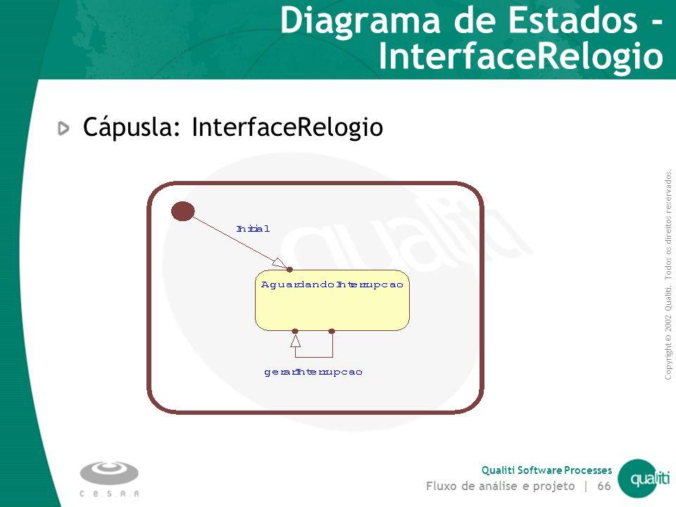Copyright © 2002 Qualiti. Todos os direitos reservados. Qualiti Software Processes Fluxo de análise e projeto | 65 Diagramas de Estados Notação estado
