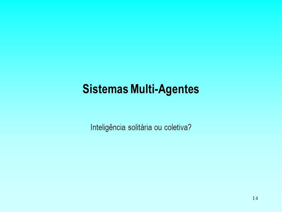 13 Desenvolvimento orientado a agentes Busca: –Definição das entidades que serão representadas no sistema (domínio); –Definição das percepções e ações