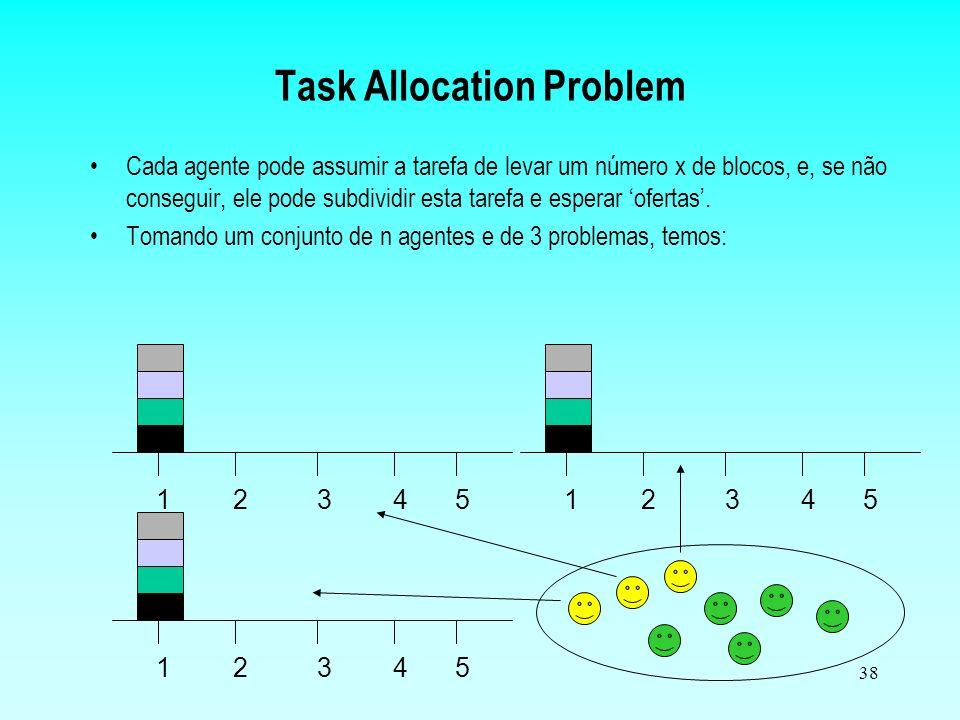 37 Task Allocation Problem 12345 Objetivo: Levar o conjunto de blocos para o ponto 5 na mesma ordem. Regras: - Só se pode mover um bloco de cada vez;