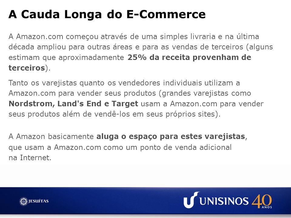 A Amazon.com começou através de uma simples livraria e na última década ampliou para outras áreas e para as vendas de terceiros (alguns estimam que ap