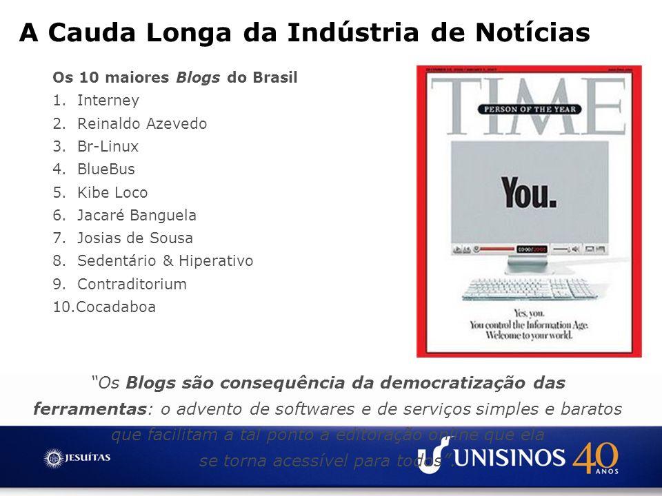 Os 10 maiores Blogs do Brasil 1. Interney 2. Reinaldo Azevedo 3. Br-Linux 4. BlueBus 5. Kibe Loco 6. Jacaré Banguela 7. Josias de Sousa 8. Sedentário