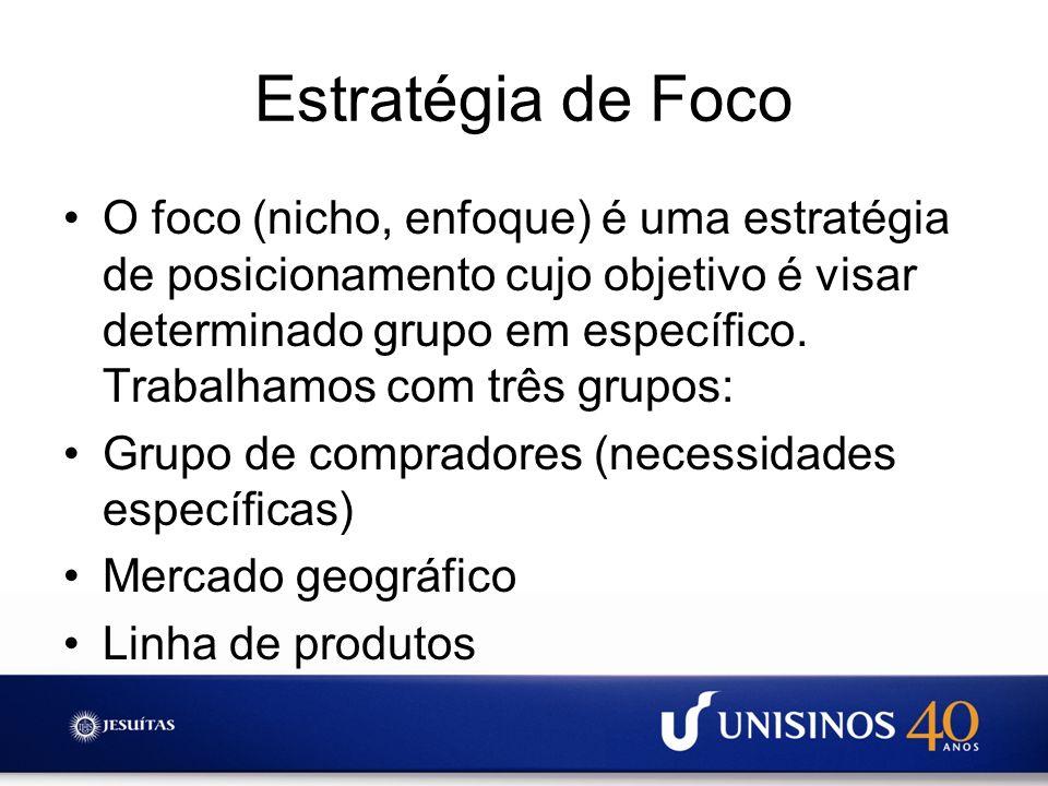 Estratégia de Foco O foco (nicho, enfoque) é uma estratégia de posicionamento cujo objetivo é visar determinado grupo em específico. Trabalhamos com t