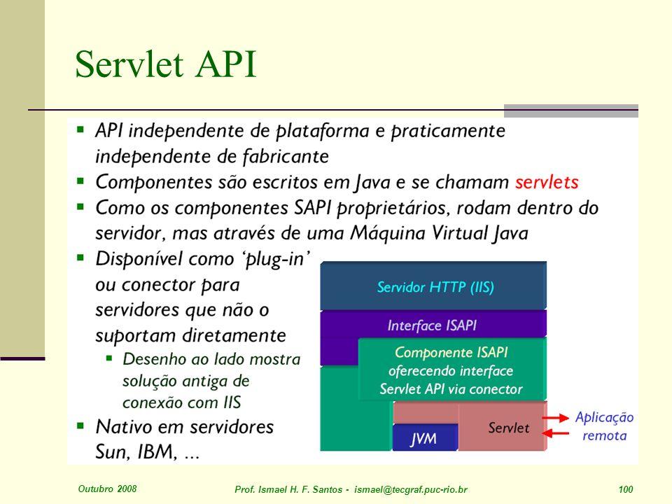 Outubro 2008 Prof. Ismael H. F. Santos - ismael@tecgraf.puc-rio.br 100 Servlet API