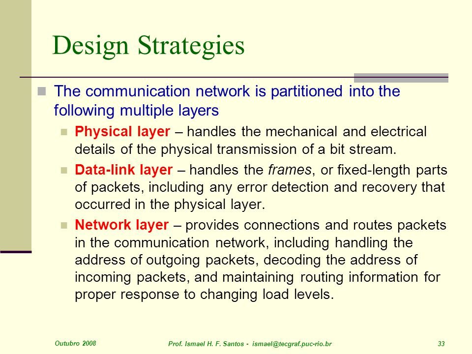 Outubro 2008 Prof. Ismael H. F. Santos - ismael@tecgraf.puc-rio.br 33 Design Strategies The communication network is partitioned into the following mu
