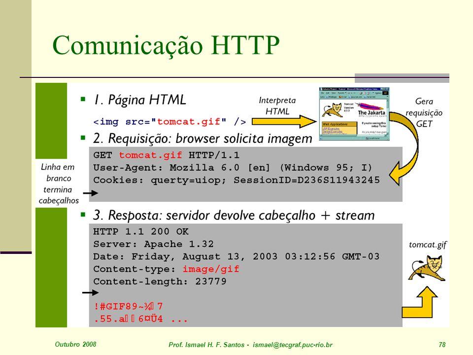 Outubro 2008 Prof. Ismael H. F. Santos - ismael@tecgraf.puc-rio.br 78 Comunicação HTTP