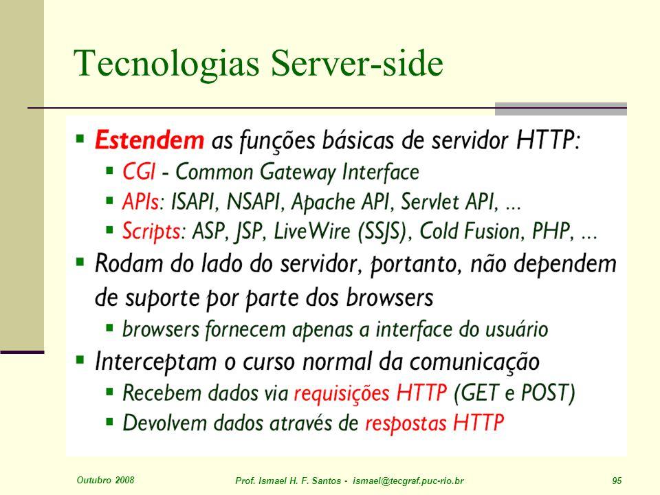 Outubro 2008 Prof. Ismael H. F. Santos - ismael@tecgraf.puc-rio.br 95 Tecnologias Server-side